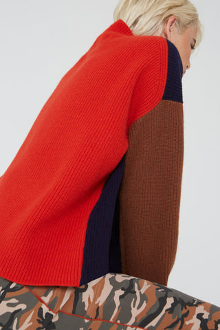 Rosie colorblock wool sweater in navy/congnac multi