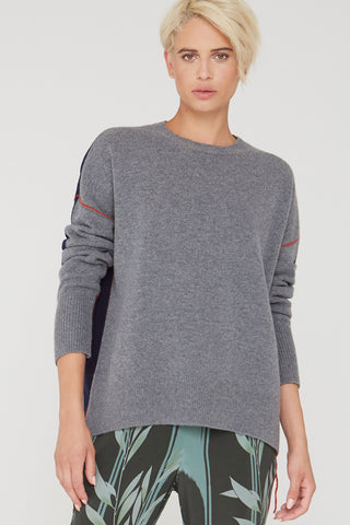 Elle colorblock wool sweater in charcoal heather gray/navy