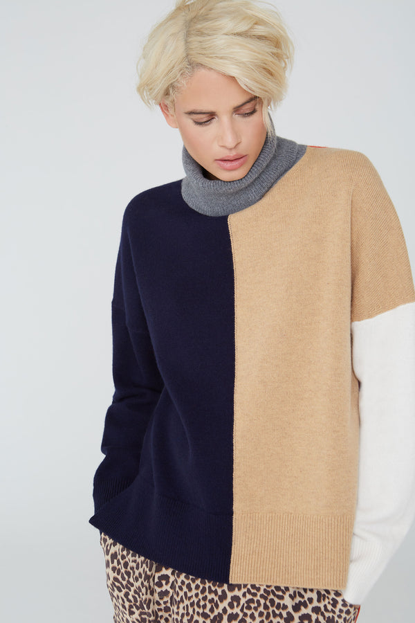 Claudia turtleneck wool sweater in colorblock navy multi