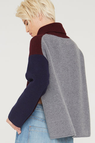 Remy turtleneck colorblock wool sweater in port multi