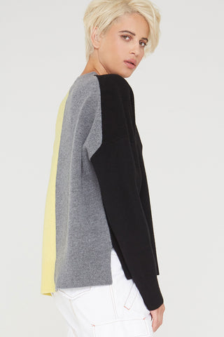 Charlize colorblock wool sweater in black multi