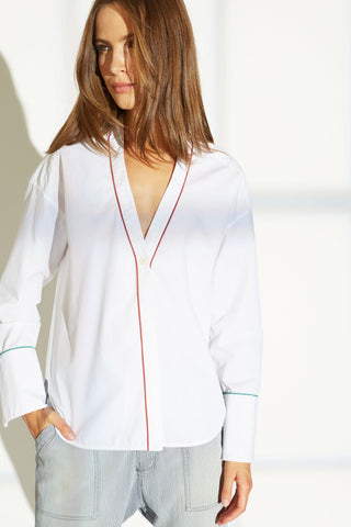 Alva cotton shirt with contrast piping