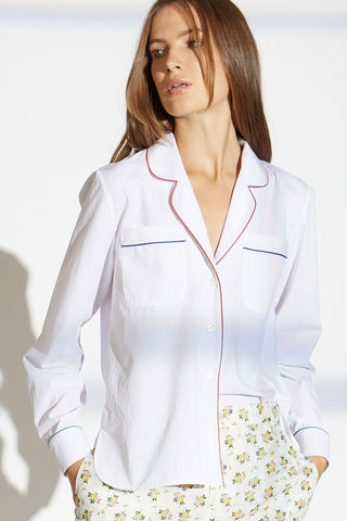 Figaro cotton shirt with contrast piping
