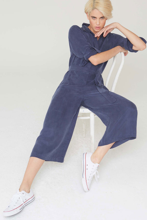 Max Jumpsuit in Navy Cupro