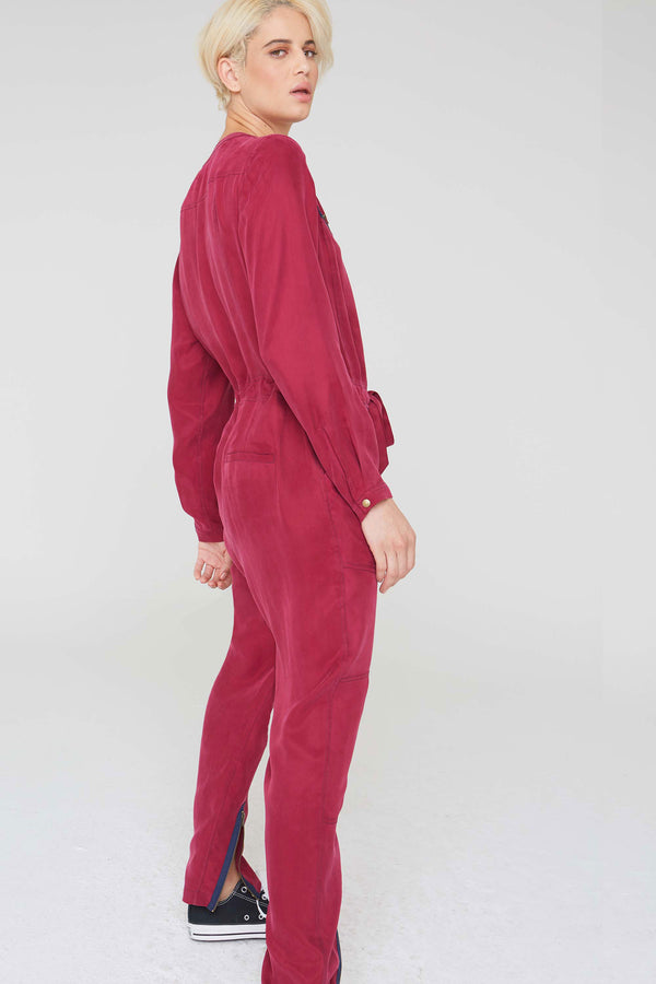Leo Jumpsuit with Front Tie Detail in Burgundy Cupro