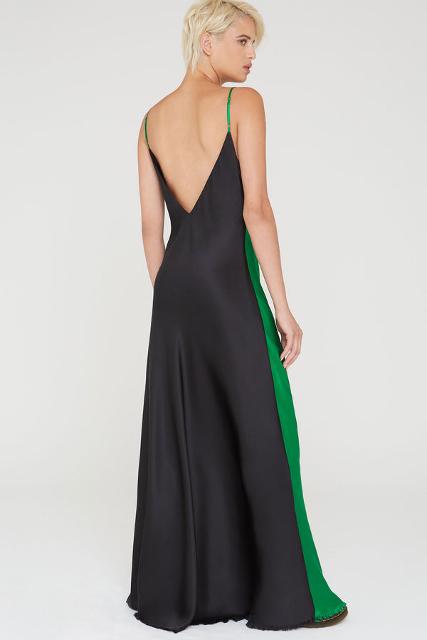 Nina Silk Charmeuse V-Neck Slip Dress in black and Kelly green colorblock