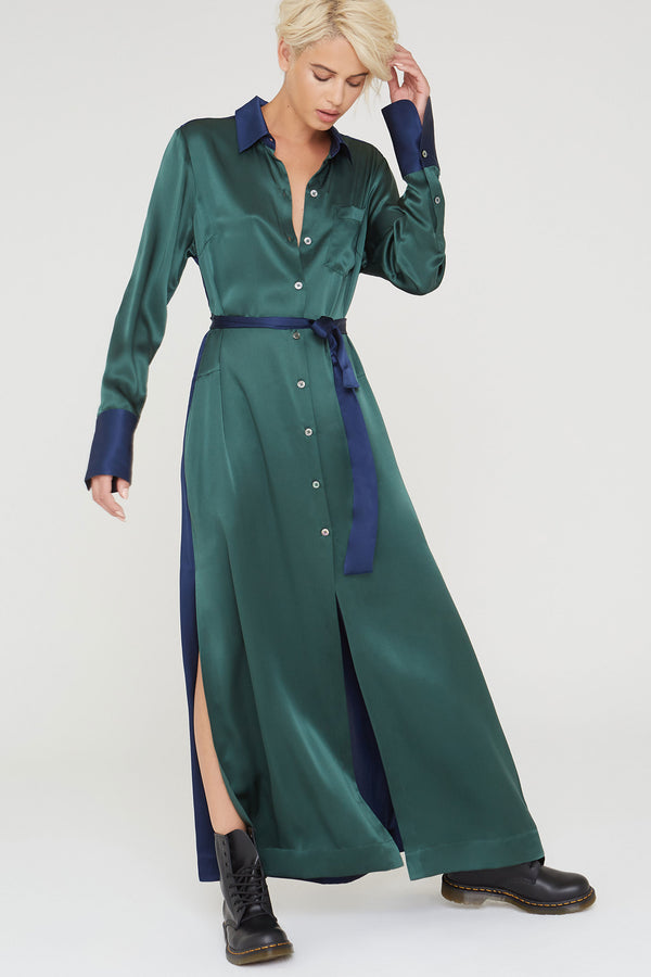 Marilyn Silk charmeuse dress in garden green and navy
