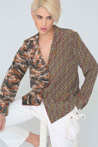 Frankie Silk Shirt In Camouflage/Shabori Mix Prints