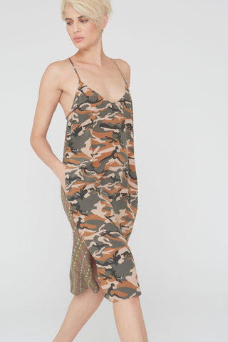Nova Silk Dress In Camouflage/Shabori Prints