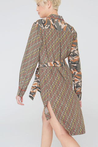 Liv Silk Dress in Camouflage / Shibori Mix Prints