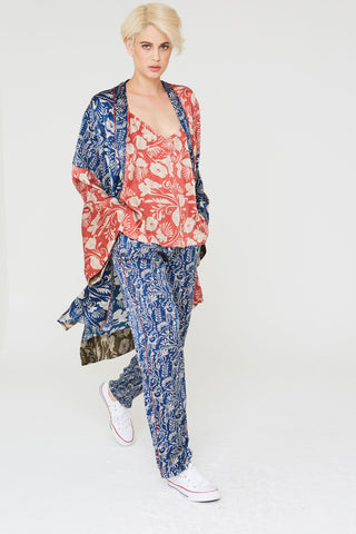 Marco Silk Pants In Small Deco Floral Print