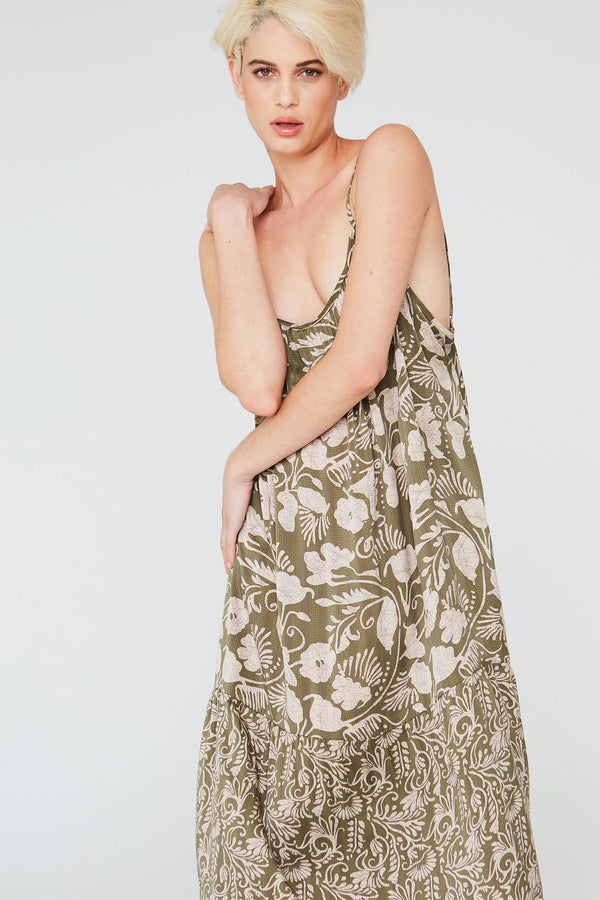 Saint Silk Dress in Deco Floral Prints