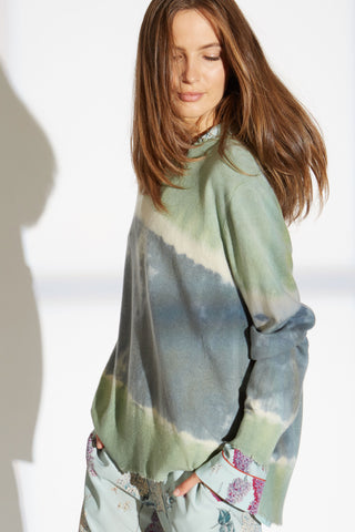 Bobby cashmere blend sweater in green diagonal tie dye