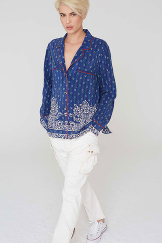 Farah Silk Shirt In Filigree Border Print