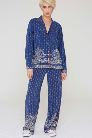 Abel Silk Pants in Filigree Border Print