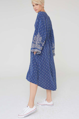 Tahlia Silk Dress In Filigree Border Print