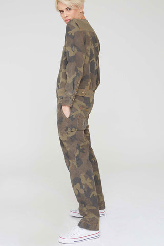 River Jumpsuit in Camouflage Twill Print