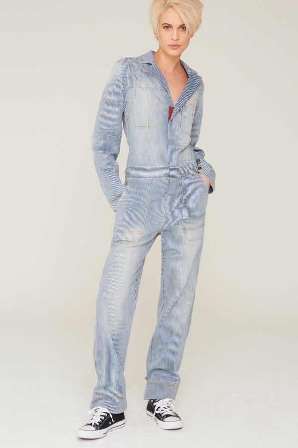 Theo Jumpsuit in Striped Denim