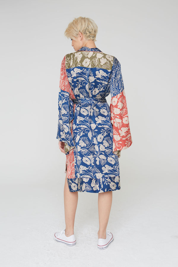 Rei Silk Kimono Jacket in Mixed Deco Floral Prints