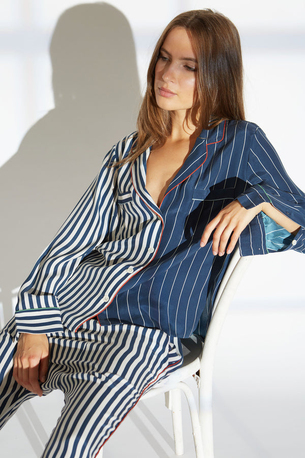 Farah silk charmeuse shirt in lounge/skipper stripe print