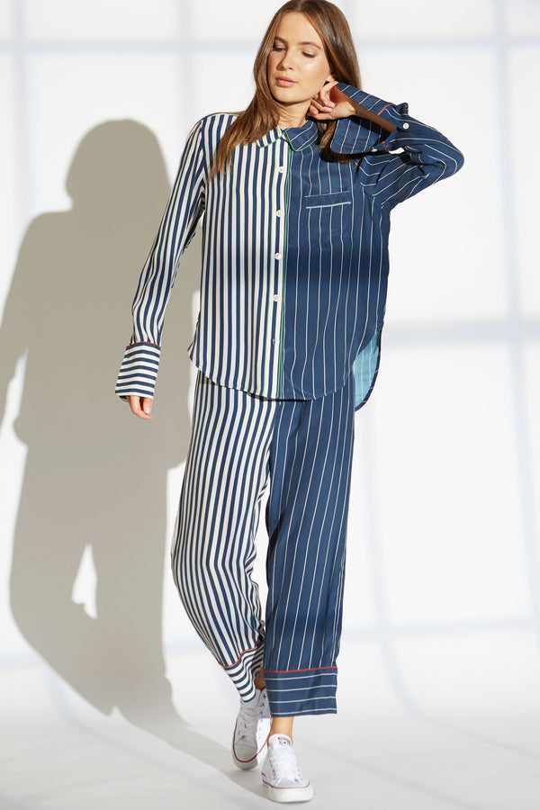 Garret silk charmeuse shirt in lounge/skipper stripe print