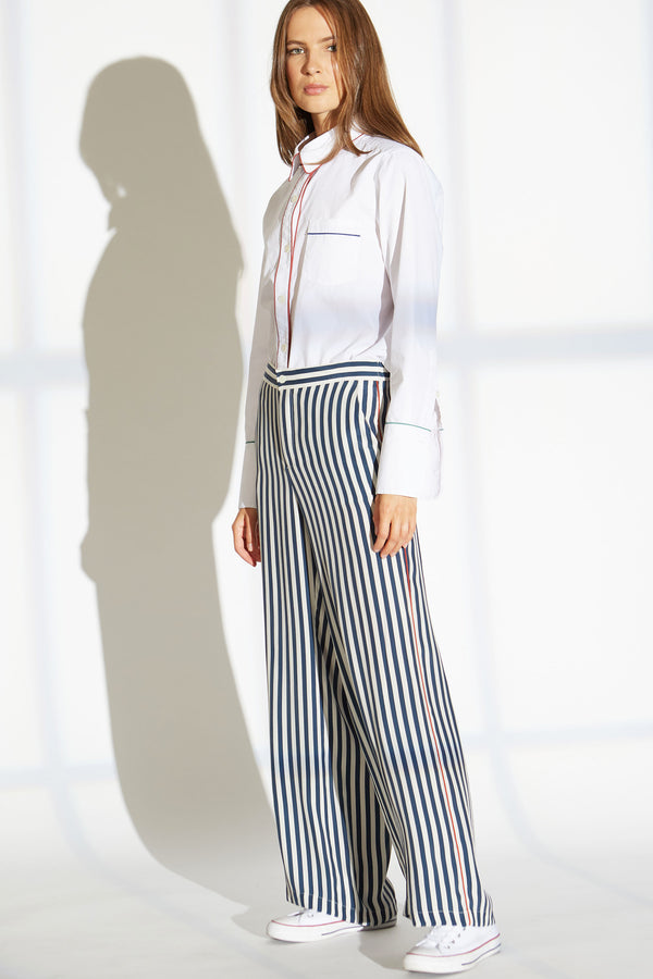 Abel Silk Charmeuse Pants in Skipper Stripe