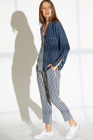 Musa Silk Charmeuse Harem Pants in Skipper Stripe