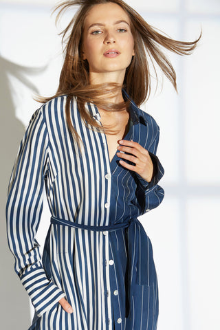MEG SILK CHARMEUSE DRESS IN LOUNGE/SKIPPER STRIPE