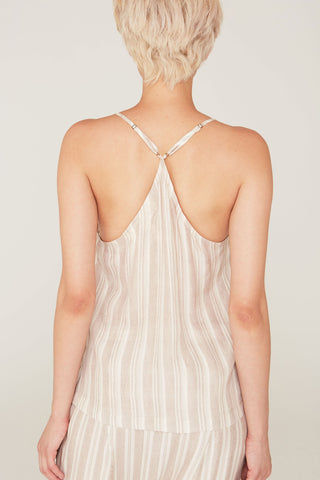 Claire Silk Charmeuse V-Neck Camisole in Pumice Stripe