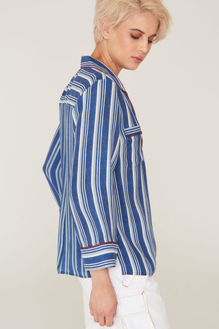 Faris Silk Charmeuse Shirt in Indigo Stripe