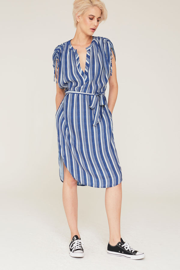 Dakota Silk Charmeuse Dress in Indigo Stripe