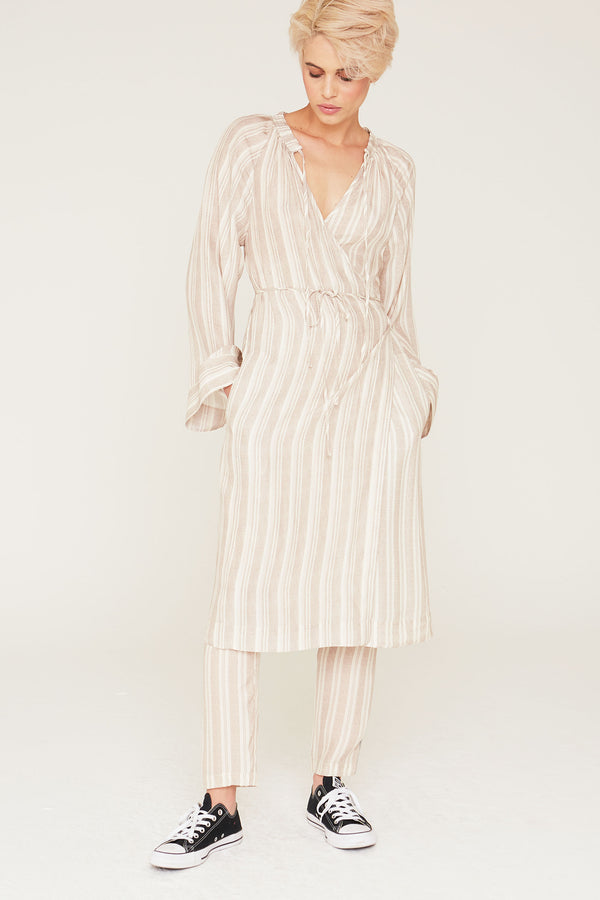 Margo Silk Charmeuse Wrap Tunic Dress in Pumice Stripe