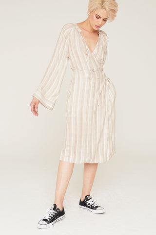 Margot Silk Charmeuse Wrap Tunic Dress in Pumice Stripe