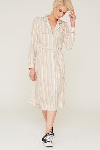 Zoey Silk Charmeuse Dress in Pumice Stripe