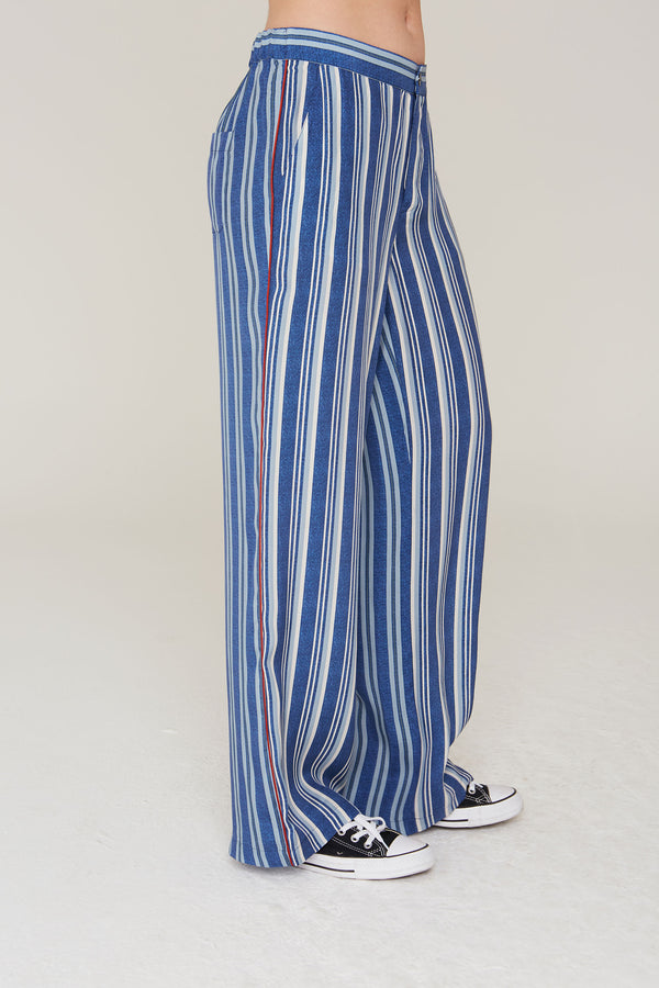 Abel Silk Charmeuse Pants in Indigo Stripe