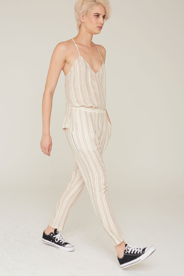 Musa Silk Charmeuse Harem Pants in Pumice Stripe