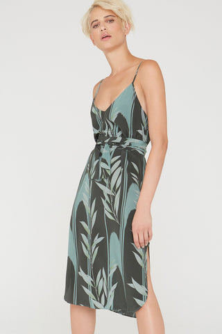 Nora silk short slip dress in Mystic Creek print