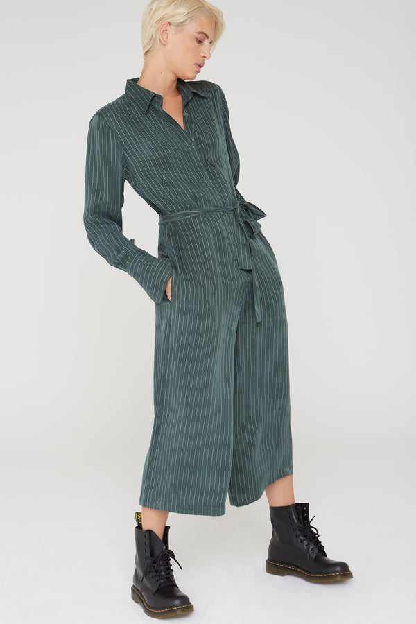 Max Striped Jumpsuit in olive green Cupro