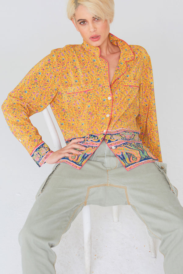Farah Silk Shirt In Paisley Border Print