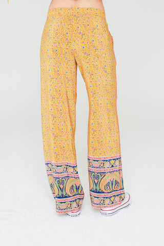 Abel Silk Pants in Yellow Paisley Border Print