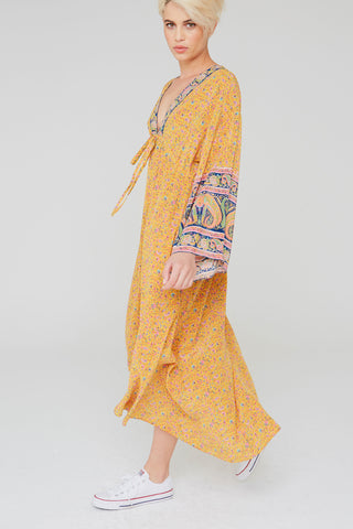 Tahlia Silk Dress In Paisley Border Print