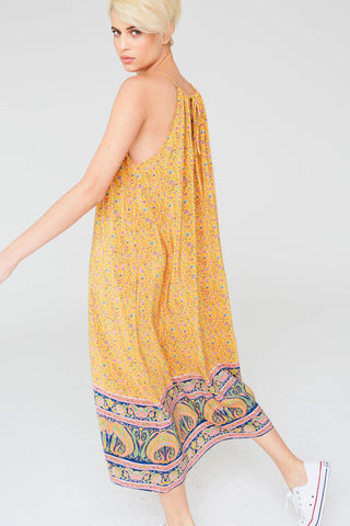 Talula Silk Halter Dress In Paisley Border Print