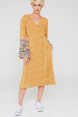 Gia Silk Wrap Dress In Paisley Border Print