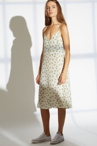 NORA SILK SLIP DRESS IN PROVINCIAL FLORAL PRINT