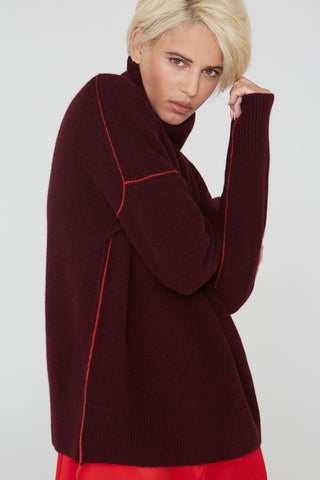 Claudia turtleneck wool sweater in Heather Port