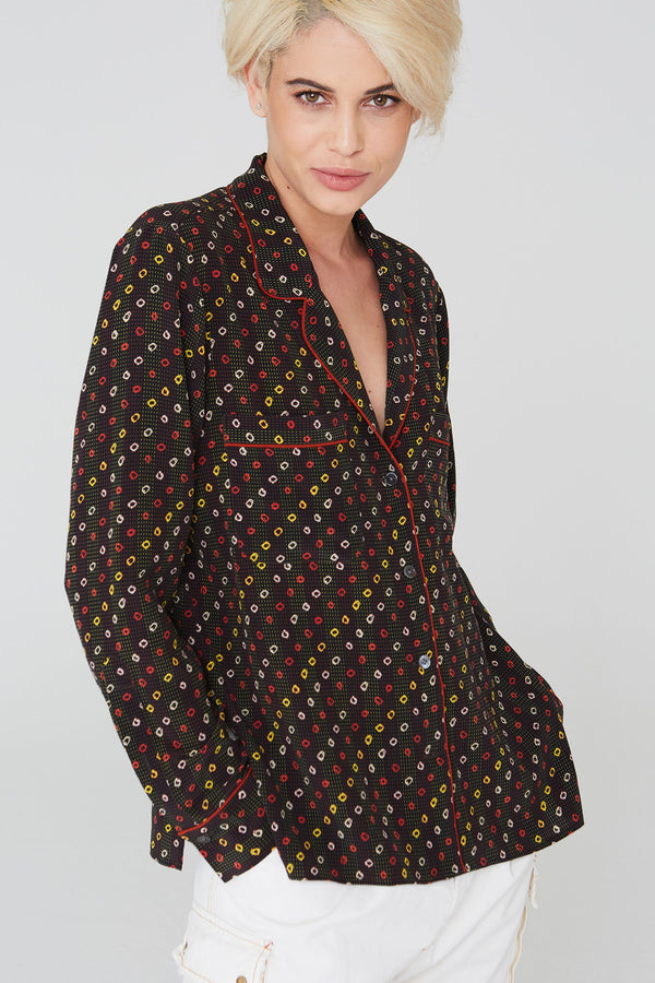 Farah Silk Shirt in Shibori Print