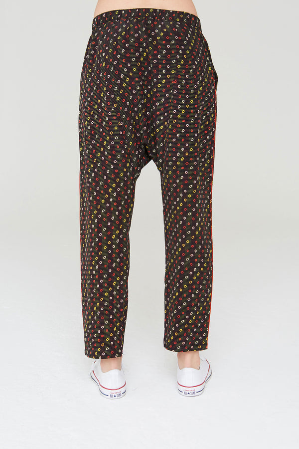 Musa Silk Harem Pants In Black Shabori Print