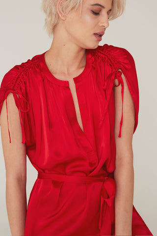 Dakota Silk Charmeuse Dress in Cardinal Red