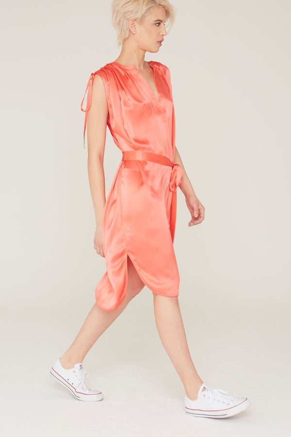 Dakota Silk Charmeuse Dress in Coral