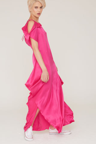 Diana Silk Charmeuse Gown in Fuchsia